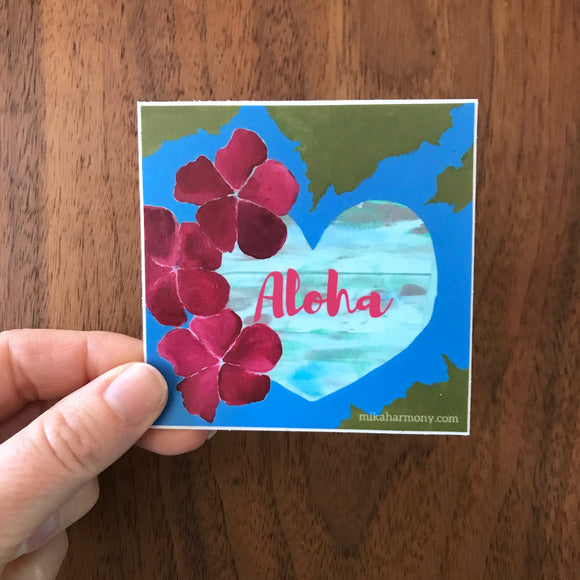 Oceans of Love: Heart and Hibiscus ALOHA sticker: ready for pre-order now! great sticker for coolers, laptops, bumper sticker for car and more! - Mika Harmony