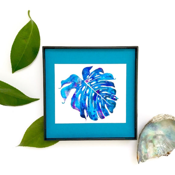 Blue Galaxy Monstera on turquoise 4x4 Framed Mini Print - Mika Harmony