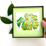 Tropical Green Monstera watercolor, 4x4 Framed Mini Print