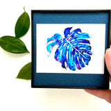 Blue Galaxy Monstera on Sparkly Navy background, 4x4 Mini Print ready to hang!