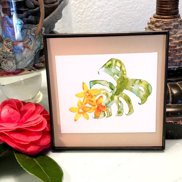 Aloha Monstera with Plumeria watercolor, 4x4 Mini Print ready to hang!