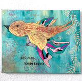 """Deliver Tenderness"" Original Acrylic Painting: Bird and Mosaic Butterfly - Mika Harmony"
