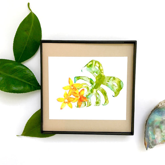 Aloha Monstera with Plumeria watercolor, 4x4 Mini Print ready to hang! - Mika Harmony