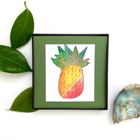 Fresh watercolors: Sunrise orange-colored Pineapple on Olive, Framed and ready to ship! Under $20