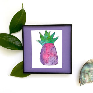 Cotton Candy Pineapple watercolor in purples and pinks, ready to ship now!