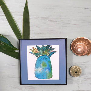 Midori Blue pineapple in thirst quenching watercolor, printed and framed for you!
