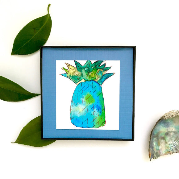 Blue Daiquiri pineapple in thirst quenching watercolor, printed and framed for you! - Mika Harmony