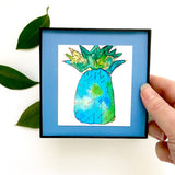Blue Daiquiri pineapple in thirst quenching watercolor, printed and framed for you!