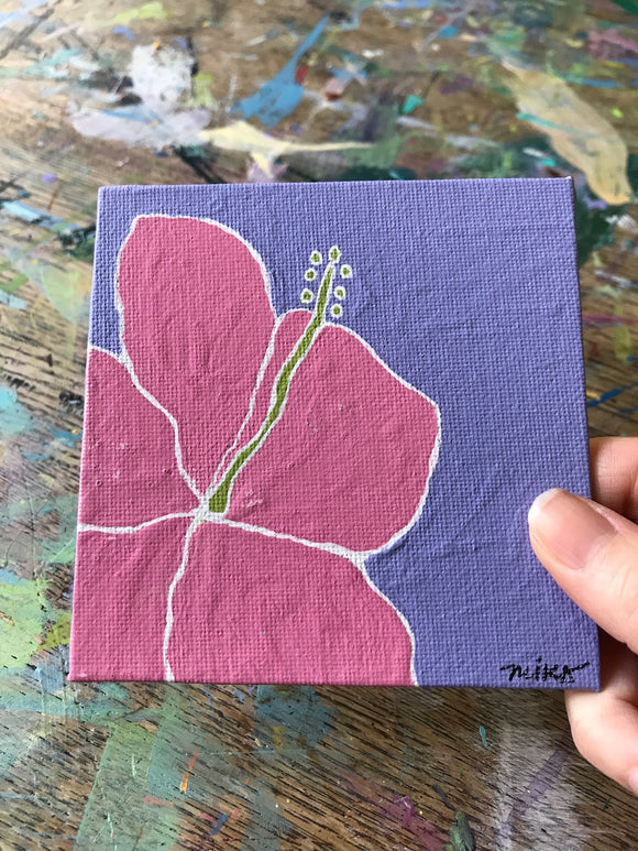 Original Hibiscus Painting on Canvas Board: Sample Sale! - Mika Harmony