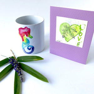 Gift idea For anyone who loves rainbows or seahorse! Happy Rainbow Seahorse Mug Gift Set, includes a handpainted watecolor card! Seahorse Mugs - Mika Harmony
