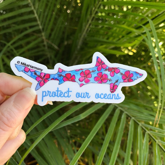 Blue and Red Hibiscus Shark Sticker