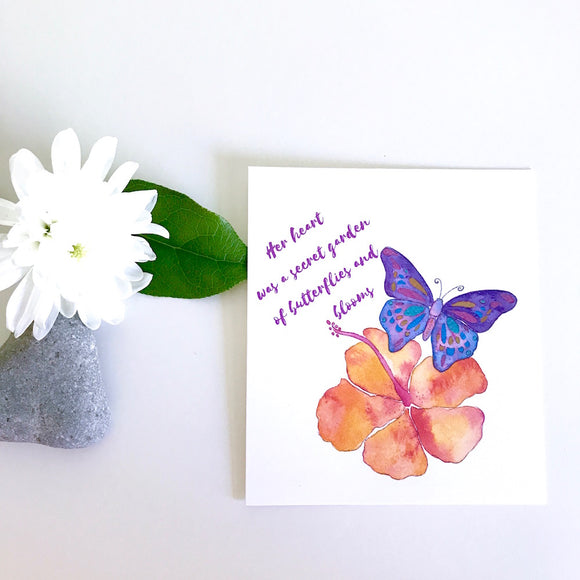 Purple Hawaiian butterfly and orange Hibiscus watercolor uplifting art