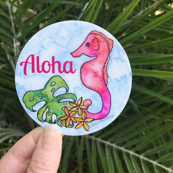 Aloha Seahorse Circle sticker with Monstera and Plumeria; great for notebooks and water bottles! - Mika Harmony