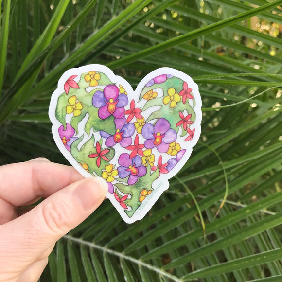 NEW Botanical Tropical Flower Heart Sticker with native Botanical Heart II Sticker with Puakenikeni flower in yellow.  CLEAR Background, featuring tropical leaves, purple orchids, ruby plumeria and yellow Puakenikeni flower - Mika Harmony