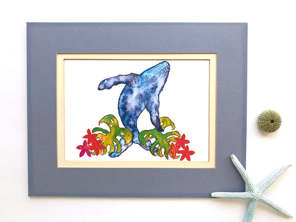 Humpback Whale in the Monstera Leaves and Plumeria Flowers: Watercolor Art Print- size 5x7 - Mika Harmony