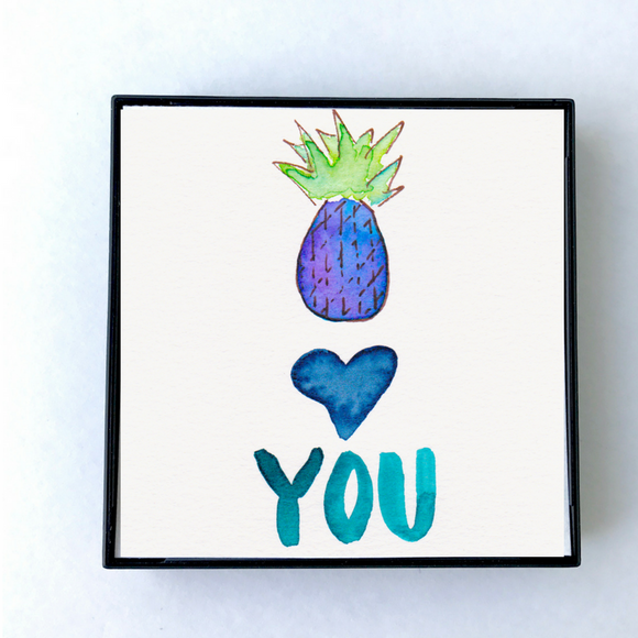 I Love You Pineapples! Perfect Gift for Valentine's Day. Choose from 3 different designs. Framed and ready to hang 4x4 - Mika Harmony