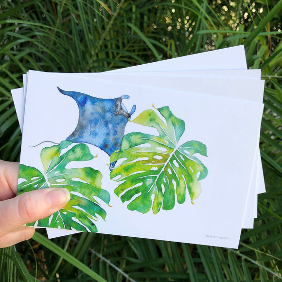 Postcard Set! Manta Ray and Monstera leaves, watercolor design. Set of 4 postcards. - Mika Harmony