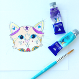 Special Commission: 4 cats into 1 painting: ORIGINAL Cat Watercolor Illustration + a set of 4 kitty notecards for you