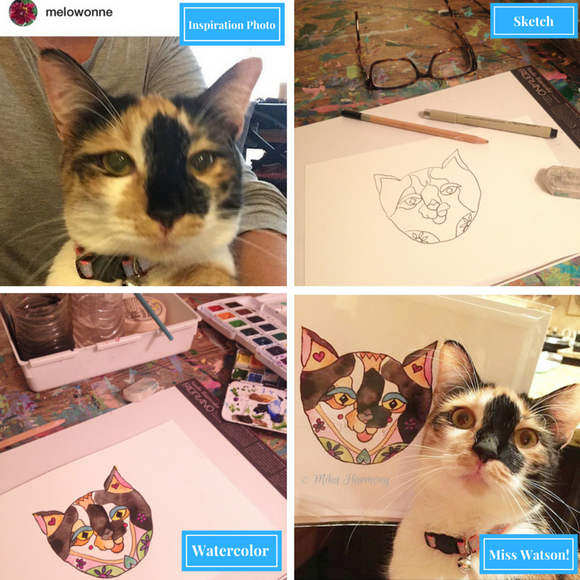 Custom Order for Denise: One of a Kind Custom Cat Watercolor Illustration of Ami Kitty+ a set of 4 custom kitty notecards
