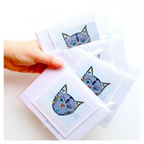 Whimsical Kitty Illustrations: Blank Greeting Card Set of 4