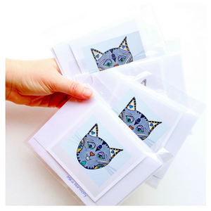 Kitty Cat Greeting Cards: SET OF 12