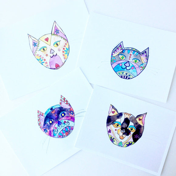4 Whimsical Cat Illustrations in watercolor