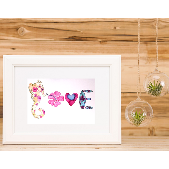 Ocean Alphabet LOVE: Pink Seahorse, Hibiscus and more Hawaiian 5x7 Art Print - Mika Harmony