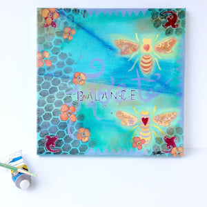 """Lucky In Love, Bees in Balance"" 12x12 Original Mixed Media painting on canvas. Bees and Nasturtiums painting - Mika Harmony"