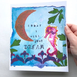 """Luna Love"" Pink Seahorse watercolor art print"