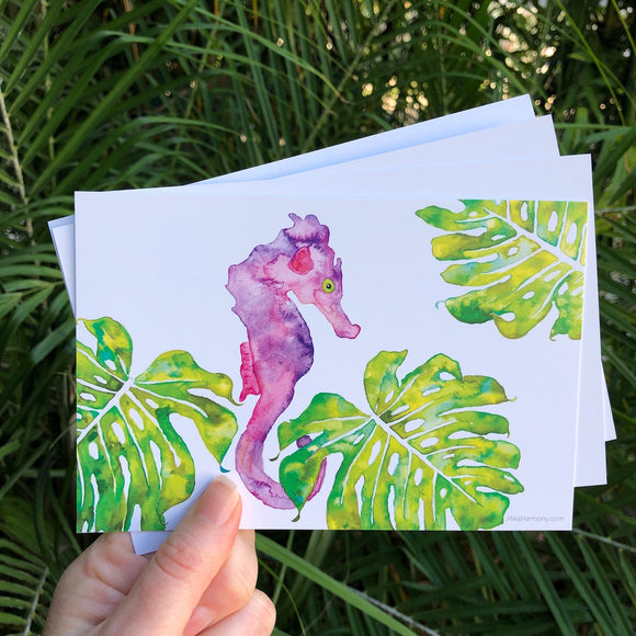Postcard Set! Purple and Pink Seahorse and Monstera leaves, watercolor design. Set of 4 postcards. - Mika Harmony
