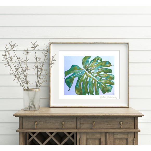 Tropical Green Maui Monstera Leaf 8x10 Print, ready to frame!