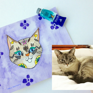 One of a Kind Custom Cat Watercolor Illustration of Your Kitty! + a set of 4 custom kitty notecards