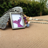 Mermaid Tail necklace in amethyst, pink and purple