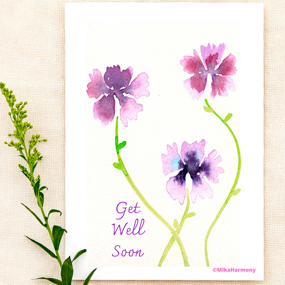 GET WELL: Delicate lavender floral greeting cards - Mika Harmony
