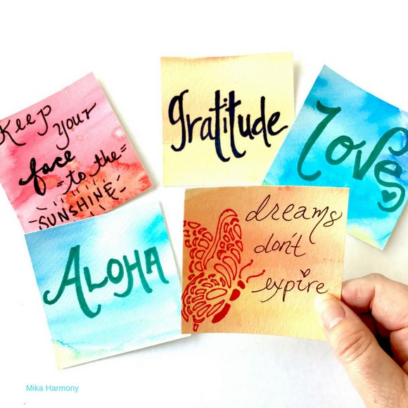Mantra Packs. Positive Affirmation Cards. Uplifting Quotes original watercolors- 2 in a pack. Uplift and Inspire!