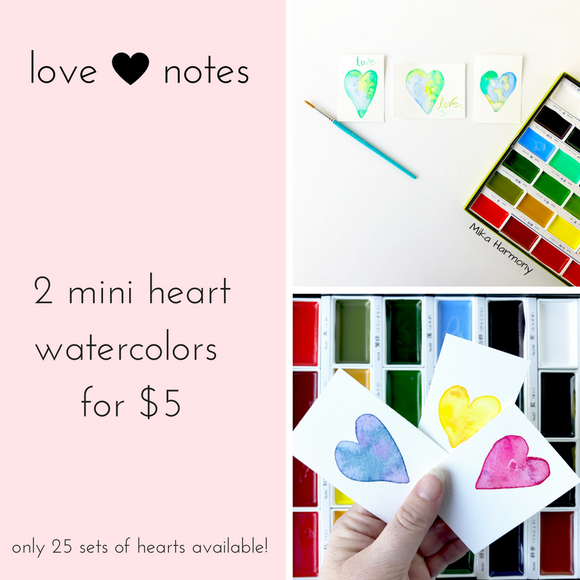 Mini Heart Love Notes in Watercolor, 2 hearts for $5