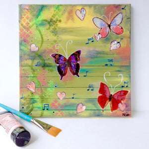 """Momentary Melody"" 12x12 Original Mixed Media painting on canvas- butterflies and music notes"