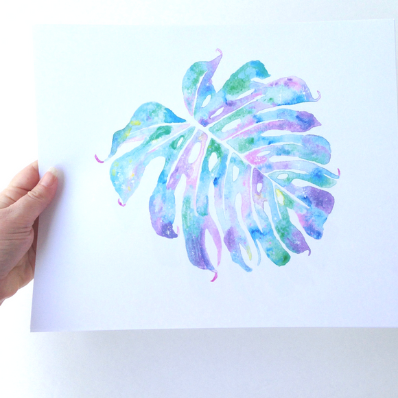 Tropical Hawaiian leaf Pastel Monstera watercolor print