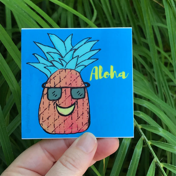 Mr Cool Pineapple with sunglasses sticker_ALOHA Sticker