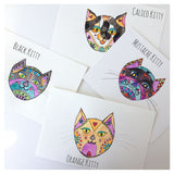 ORIGINAL Cat Watercolor Illustration + a set of 4 kitty notecards for you
