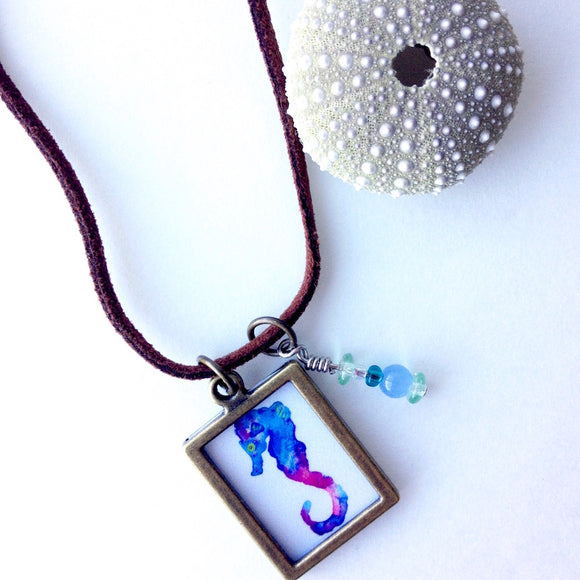 Teal Blue and Purple Seahorse necklace on suede cord, Celebrate the sea with beachy jewelry