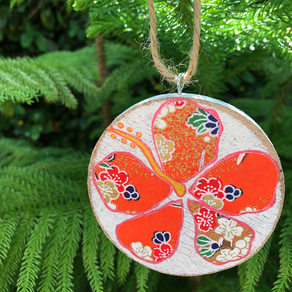 Orange and Blue Cherry Blossom Hibiscus Handmade Wooden Christmas Ornament - Mika Harmony
