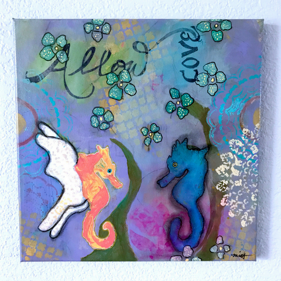 Pair of Seahorse in blues, periwinkle, splashes of yellow and orange,