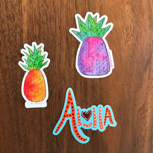 "Limited Edition Sticker Set!  ""Piña Colada"" Great Galentine's Day Gift, Valentine's Present. Perfect gift for Pineapple lovers and anyone who loves color!"