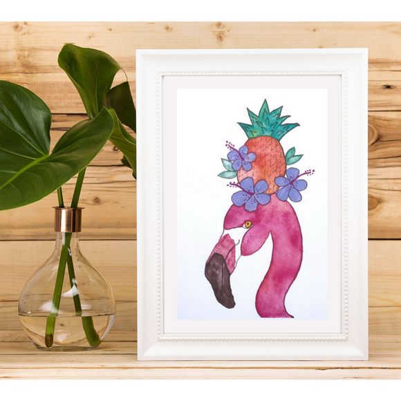 Piña Colada Flamingo painting wearing a hibiscus and pineapple flower crown watercolor art print - Mika Harmony