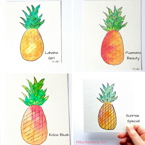 Fresh Pineapple Watercolors! 4x4 vibrant Aloha Art