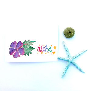Greeting Card set of 4: Purple Hibiscus Aloha - Mika Harmony