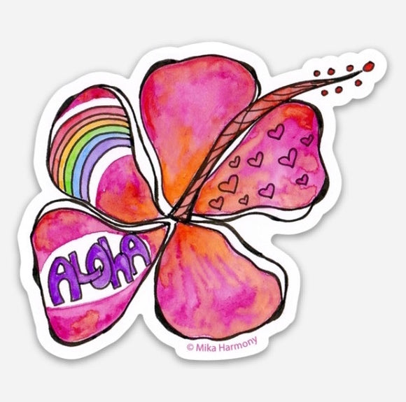 Ready for PRE ORDER NOW!: Red Hibiscus ALOHA Rainbow Waterproof sticker, great for water bottles, laptops and more! - Mika Harmony