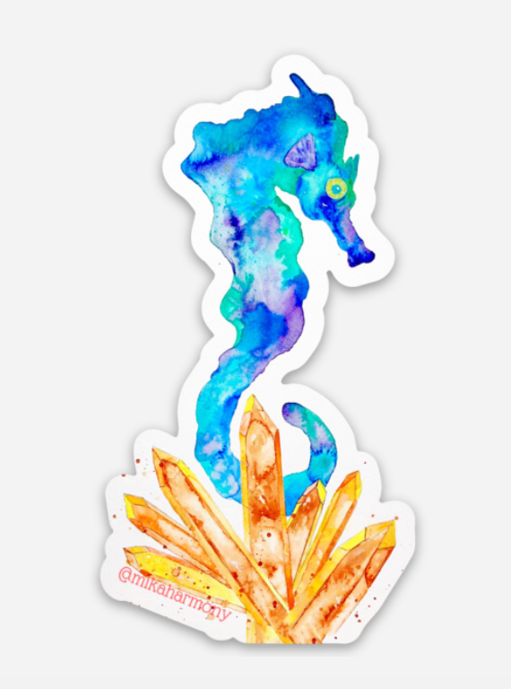 Watercolor Seahorse and Crystal sticker, great for beach lovers and crystal fanatics! - Mika Harmony