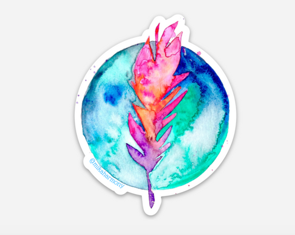 Feather and Globe Boho Chic water-resistant sticker special Giveaway for Instagram friends! 5 available!